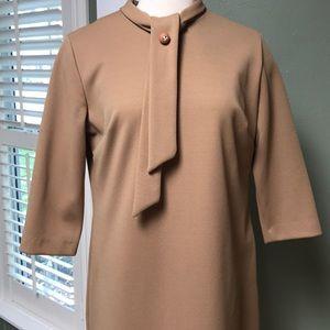 Vintage 1960s Camel Dress Turtle Neck w/rhinestone
